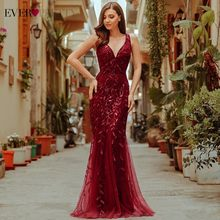 Burgundy Evening Dresses Pretty EP07886 V คอ Mermaid Sequined อย่างเป็นทางการผู้หญิง Elegant PARTY Gowns LANGE Jurk 2019(China)