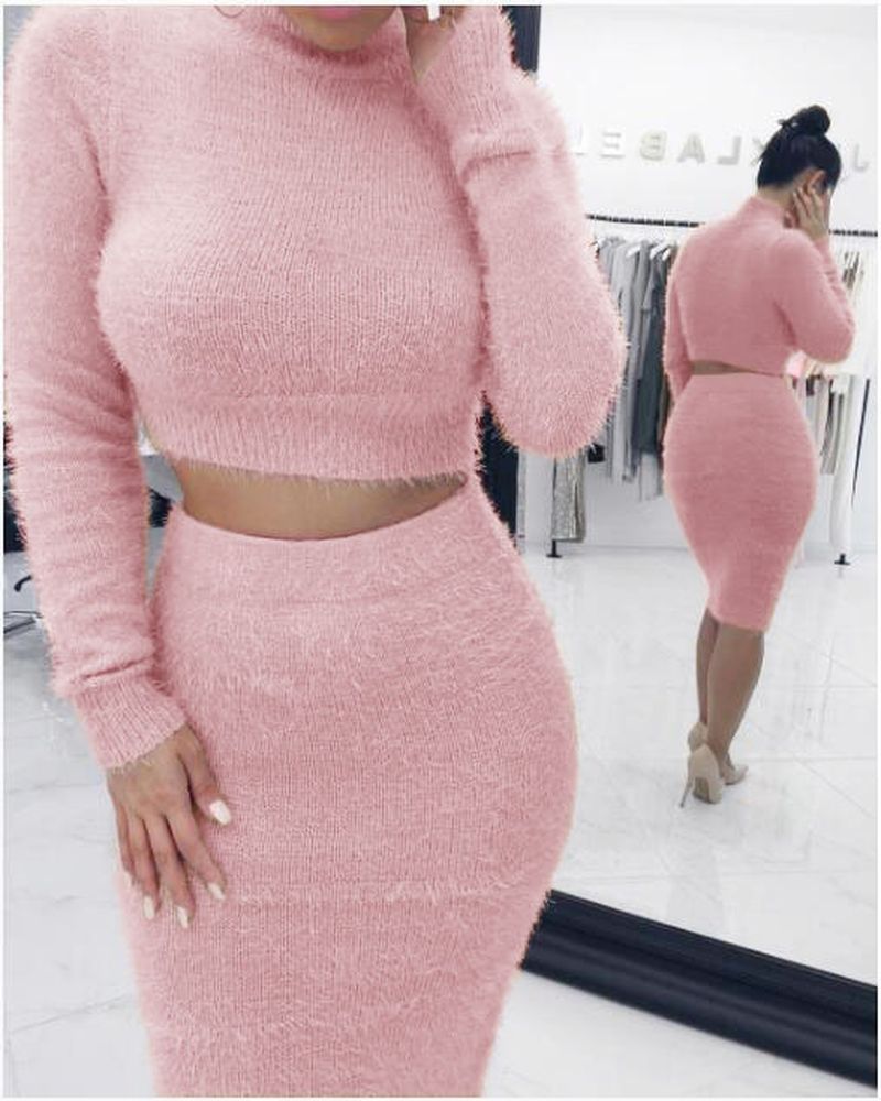 122222b0e ... Fashion Autumn Winter Fluffy Set Women Long Sleeve Fleece Crop Top  Pencil Skirt Warm Pullover Bodycon ...