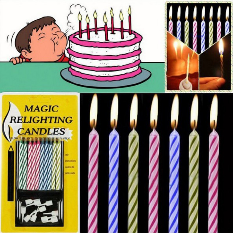 new magic relighting candle tricky toy gift eternal birthday blowing candles colored cake candles safe flames dessert decoration