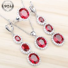 1194d4a5d Fashion Silver 925 Bridal Jewelry Sets For Women Red Cubic Zirconia Stones  Pendant & Necklace Rings Earrings Set Free Gift Box