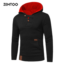 zemtoo New Fashion Autumn Winter Men Sweatshirts With Hat Solid Color Hooded Hoodies Tops Pullovers Men Coats Warm 2017 ZE0449