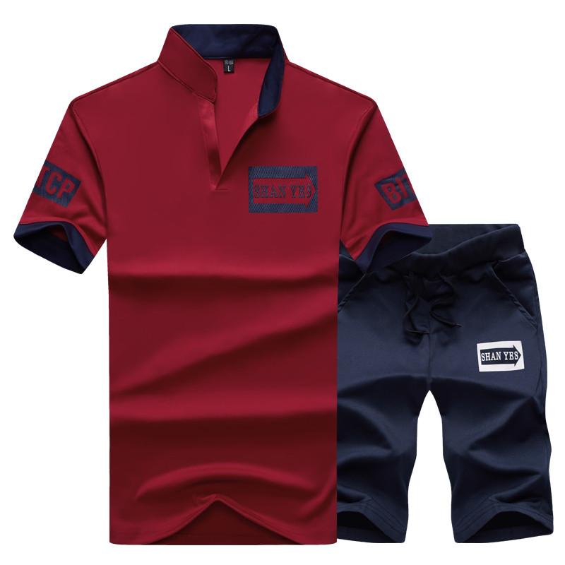 2 Pieces T-shirt Shorts Tracksuit Sport suits Set Men 2018 Brand Fitness Suits Summer 2PC Top Short Set Mens Stand Collar Fashion 3