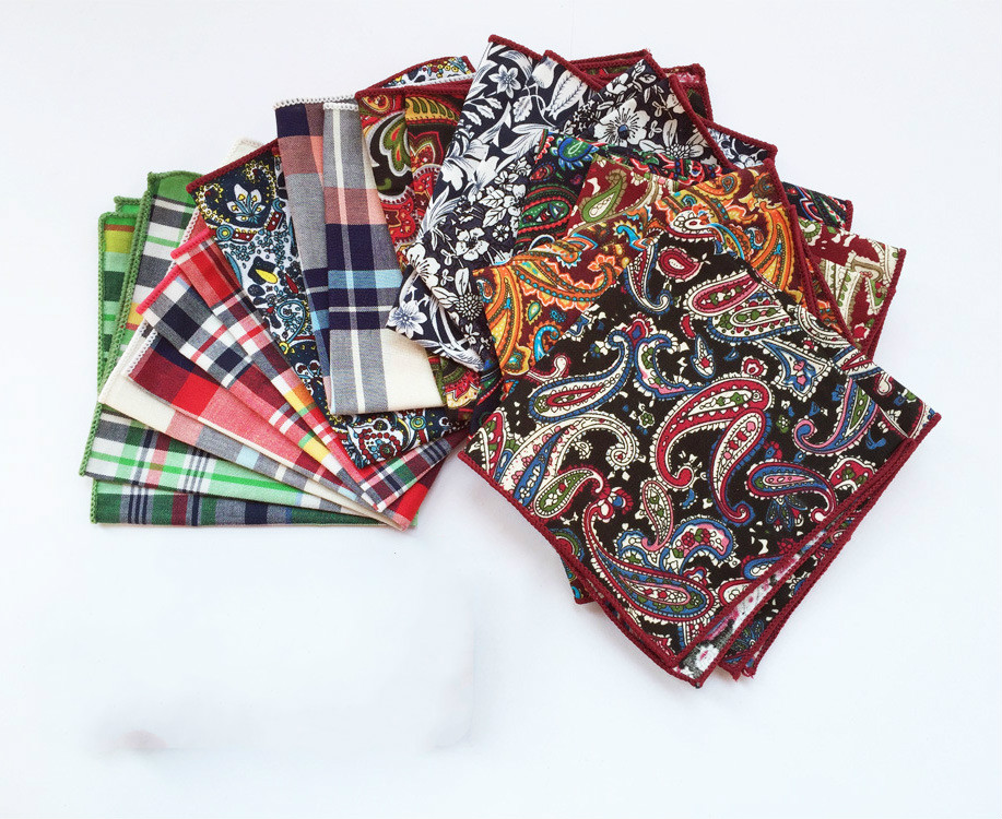 Paisley Striped Dot Men Handkerchiefs Men Plaid Classic Fashion Pocket Towel Hanky For Formal Business Suits Square Scarf