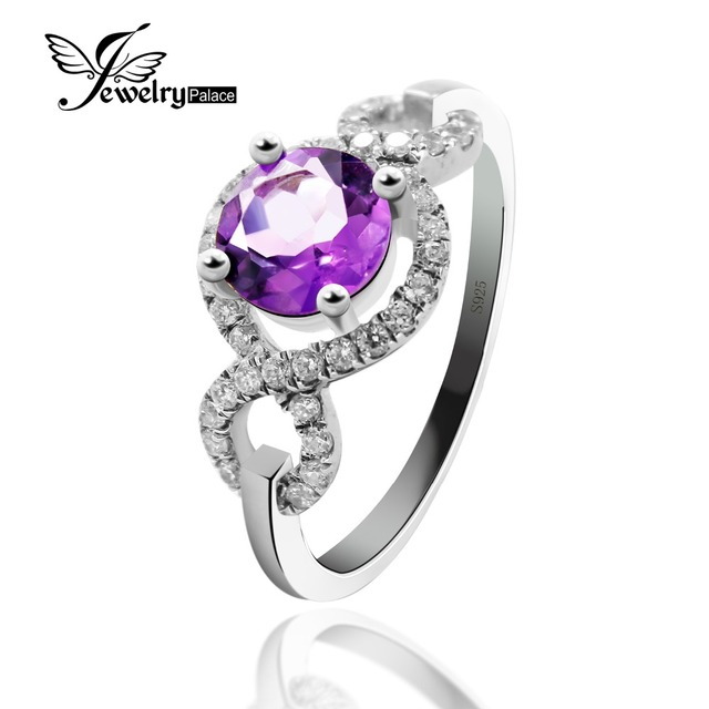 Round Natural Amethyst Engagement Wedding Halo Ring For Charming Women 100% Pure 925 Sterling Silver Purple Gemstone Jewelry New