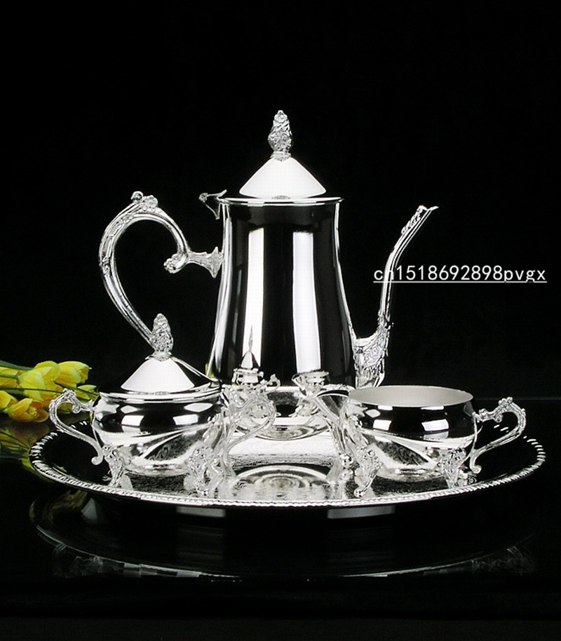 New arrival Euro silver plated metal coffee set tea set for weddings party or KTV