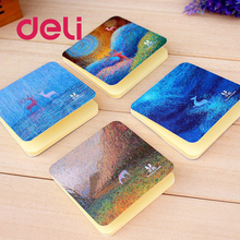 Deli 1PC Creative Mini Memo Paper pad 50Pages Sticky DIY Student Solid Color Notepad Bookmark Papers School Office Supplies