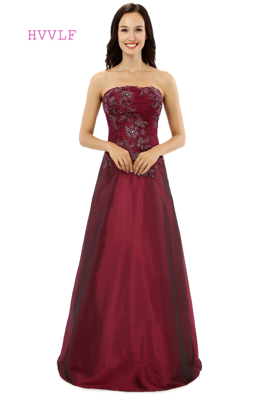 Burgundy 2019 Mother Of The Bride Dresses A-line Strapless Taffeta Lace Beaded Groom Formal Long Mother Dresses For Wedding