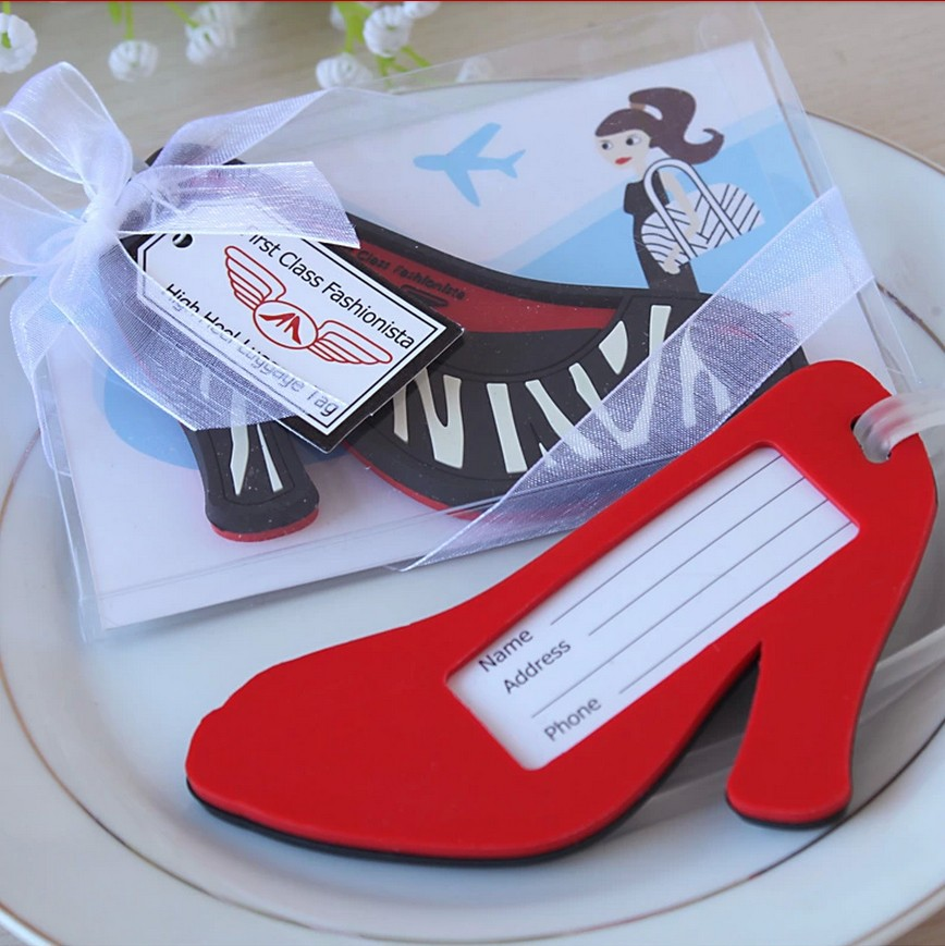 DHL Free shipping 50pcs/lot High Heel shoe Luggage Tag novelty wedding favors bridal shower gifts