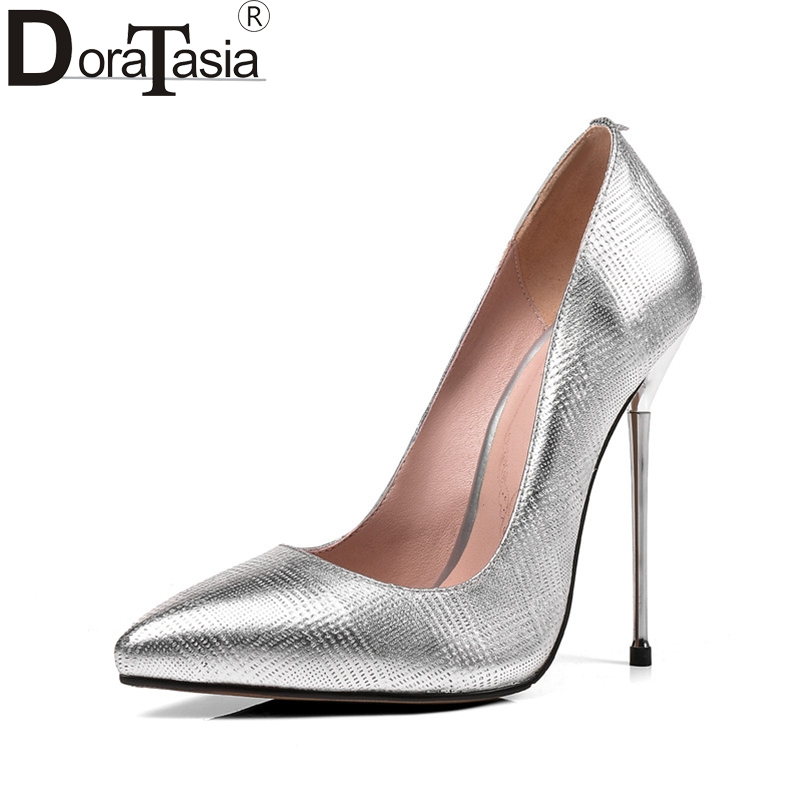 DoraTasia Women's Genuine Leather Thin High Heel Shoes Woman Party Wedding Pointed Toe Less Pumps Big Size 31-45 doratasia embroidery big size 33 43 pointed toe women shoes woman sexy thin high heels brand pumps party nightclub