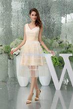 free shipping new design hot sale v-neck custom gown vestido de festa short  champagne robe party Mother of the Bride Dresses 6c3e611b3bb5