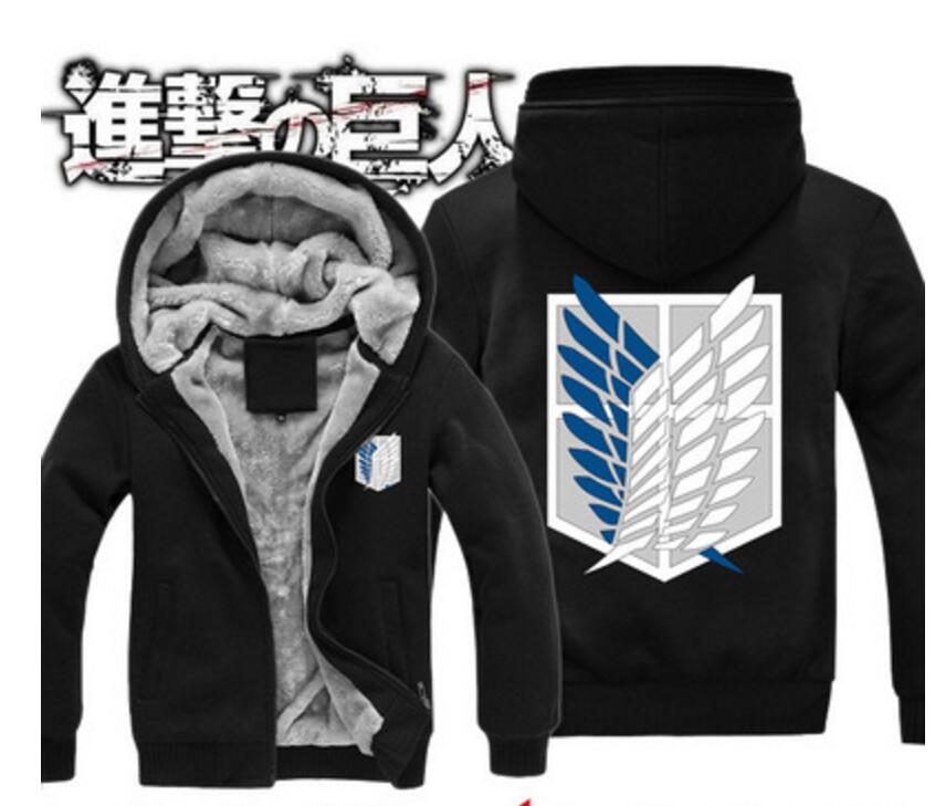 Attack on Titan Anime Shingeki no Kyojin wings freedom winter fleece Sweatshirt cosplay costume hoodie jacket zipper shirt coat