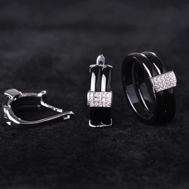 Chic Geometric Ceramic Ring&Earring Jewelry Set For Men Women Wedding Gift Rhinestone Copper Aretes Pendientes Punk Mujer Bijoux