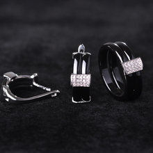 Chic Geometric Ceramic Ring&Earring Jewelry Set For Men Women Wedding Gift Rhinestone Copper Aretes Pendientes Punk Mujer Bijoux(China)