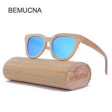 2017 New BEMUCNA Wood Sunglasses Women Cat Eye Frame HD Lens Shades Classic polarization Sun Glasses Women Brand Designer UV400