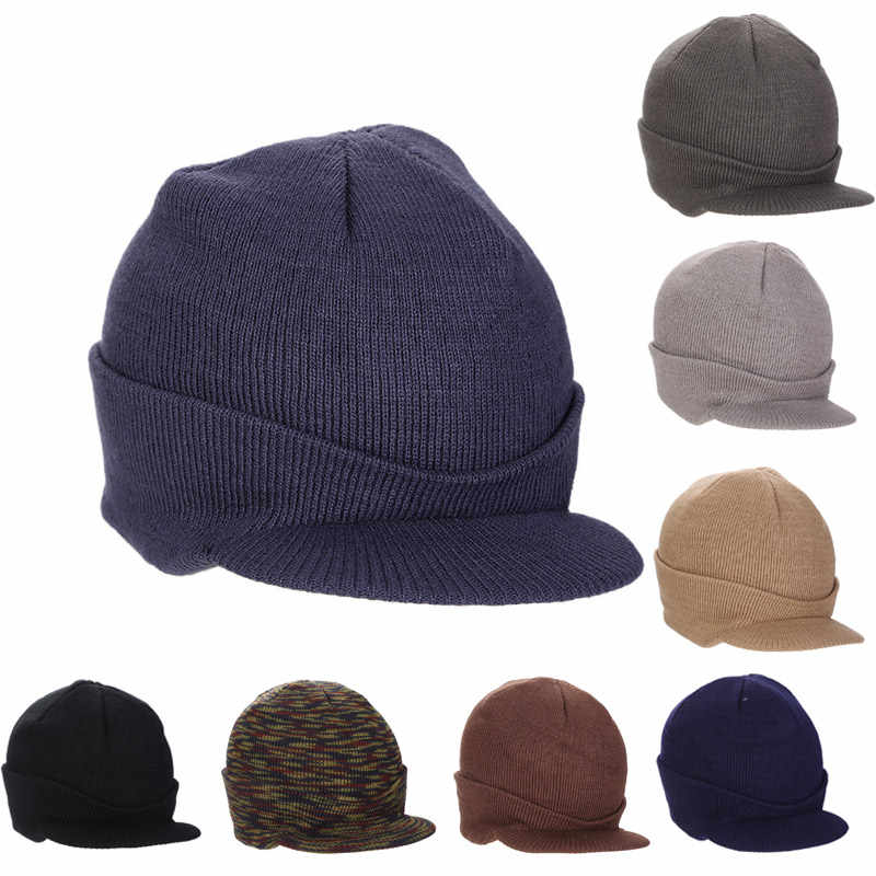332e11ff 2017 New Fashion Unisex Peaked Army Visors Hat Warm Wooly Winter Men Women  Cadet Ski Knitted