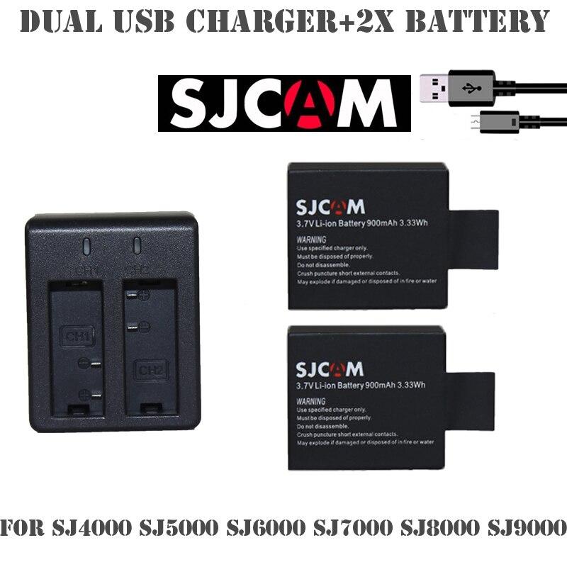 2x SJCAM Sj4000 Зарядное Литий-ионный Аккумулятор 3.7 В 900 мАч + Двойной зарядное устройство Для SJ4000 SJ 5000 SJ5000 SJCAM + SJ6000 sj 4000 sj7000 камера