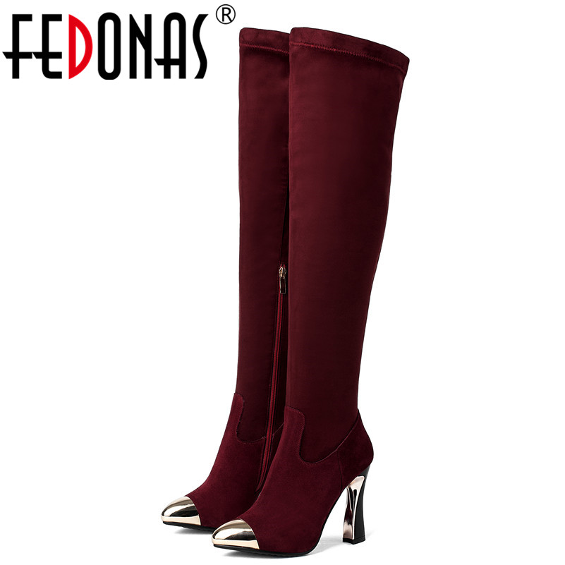 FEDONAS Brand Over The Knee High Boots Women High Heels Metal Toe Long Warm Autumn Winter Shoes Woman Tight High Knight Boots fedonas top fashion women winter over knee long boots women sper thin high heels autumn comfort stretch height boots shoes woman