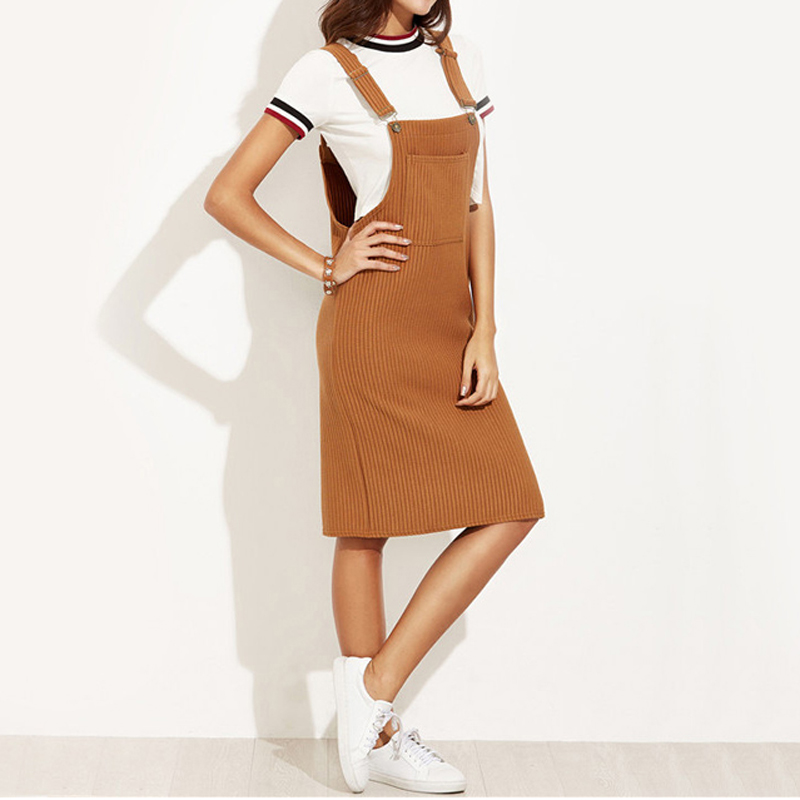 1d8d695ae44 TANGNEST Casual Shift Dresses Woman Autumn 2017 New Sleeveless Strap Ribbed  Knee Length Pockets Overall Dress WQD866-in Dresses from Women s Clothing  on ...