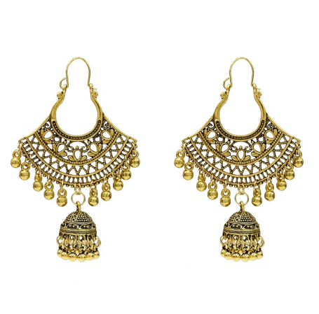 Indian Bollywood Ethnic oxydé Gold Hoop Fashion Earrings For Women Free Ship