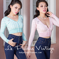FREE SHIPPING Le Palais Vintage Limited Edition V Neck Light Blue Pink Plaid Short Knitting Cardigan Women Thin Sweater Clothing