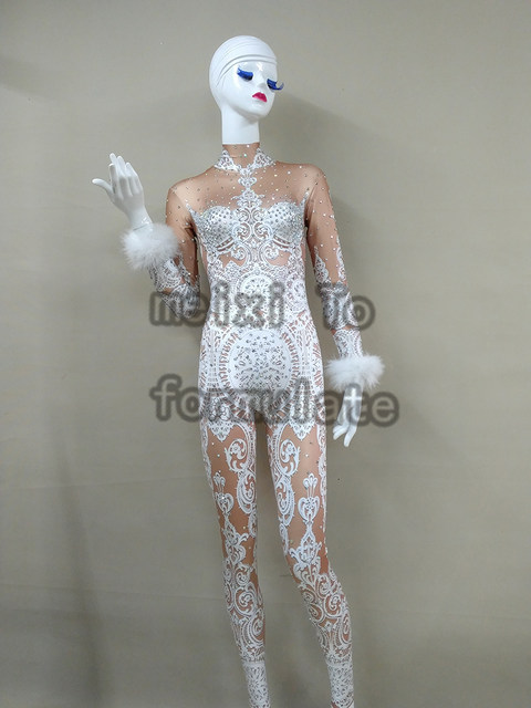 221a1e2a4f0 Sexy White Lace Rhinestones Bodysuit Female Singer Stage Jumpsuit Costume  Party Celebrate Glisten Stones Stretch Nude Outfit