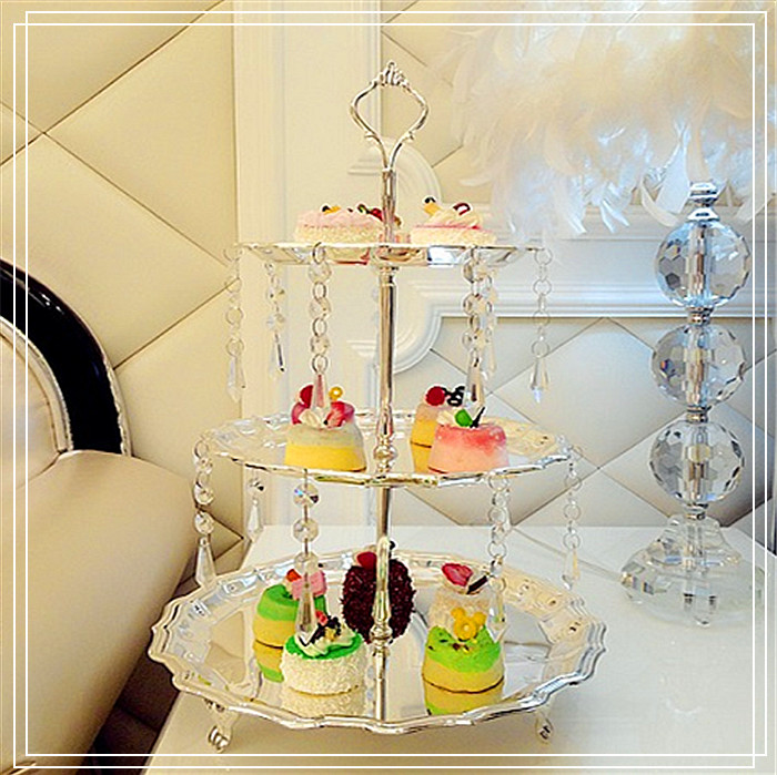 Free shipping 3 tier crystal fall cake stand silver plated cake pan ...
