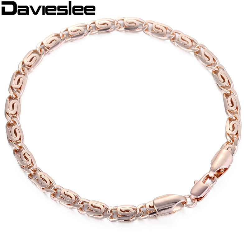 5mm White Rose Gold Filled Bracelet Snais