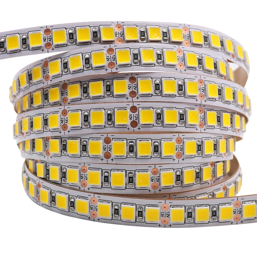 Tira de luces LED de 5M, 5054 SMD, 120LED, 60LED, 240LED, 5050 2835 12V CC, cinta LED Flexible impermeable para decoración del hogar, 10 colores