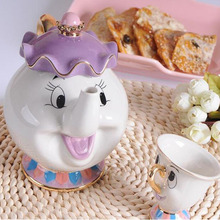 Cartoon Beauty and The Beast Teapot Mug Cute Mrs Potts Chip Tea Pot Cup One Set Lovely Xmas Christmas Birthday Gift Teaware Sets