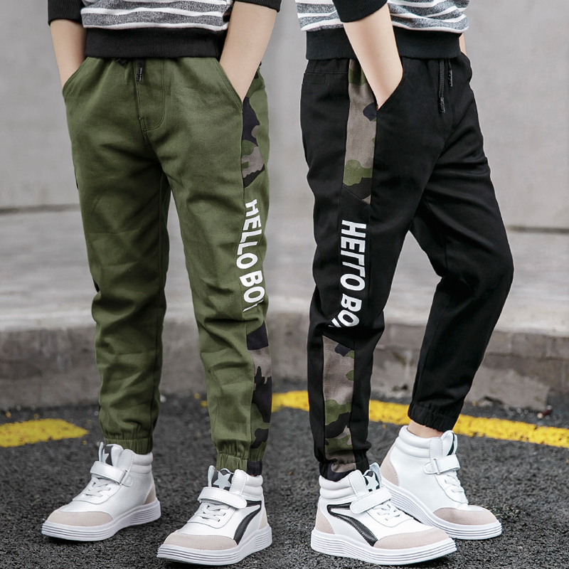 Pants for Boys Spliced Beam Foot Trousers Cotton Casual Sports Pants Clothes for Teenagers Boys 8 10 12 14 16 Years Spring 2021 1