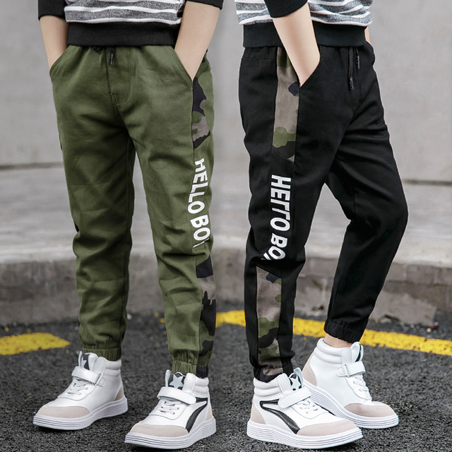 Pants for Boys Spliced Beam Foot Trousers Cotton Casual Sports Pants Clothes for Teenagers Boys 8 10 12 14 16 Years Spring 2020 1