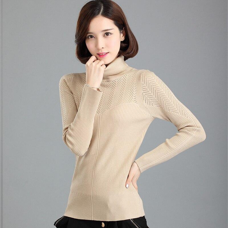 Moda Otoño Invierno mujeres Suéteres Cashmere manga larga Jerséis ropa  femenina cuello alto sólido hecho punto elegante abrigo hz528 fe3fd9faac4
