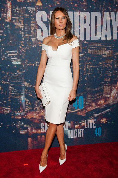 2017 Sexy Inspired By Melania Trump Celebrity Dress White