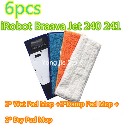 6* Upgrades robot cleaner brushes spare parts 2*  Wet Pad Mop +2*  Damp Pad Mop + 2*  Dry Pad Mop  for iRobot Braava Jet 240 241