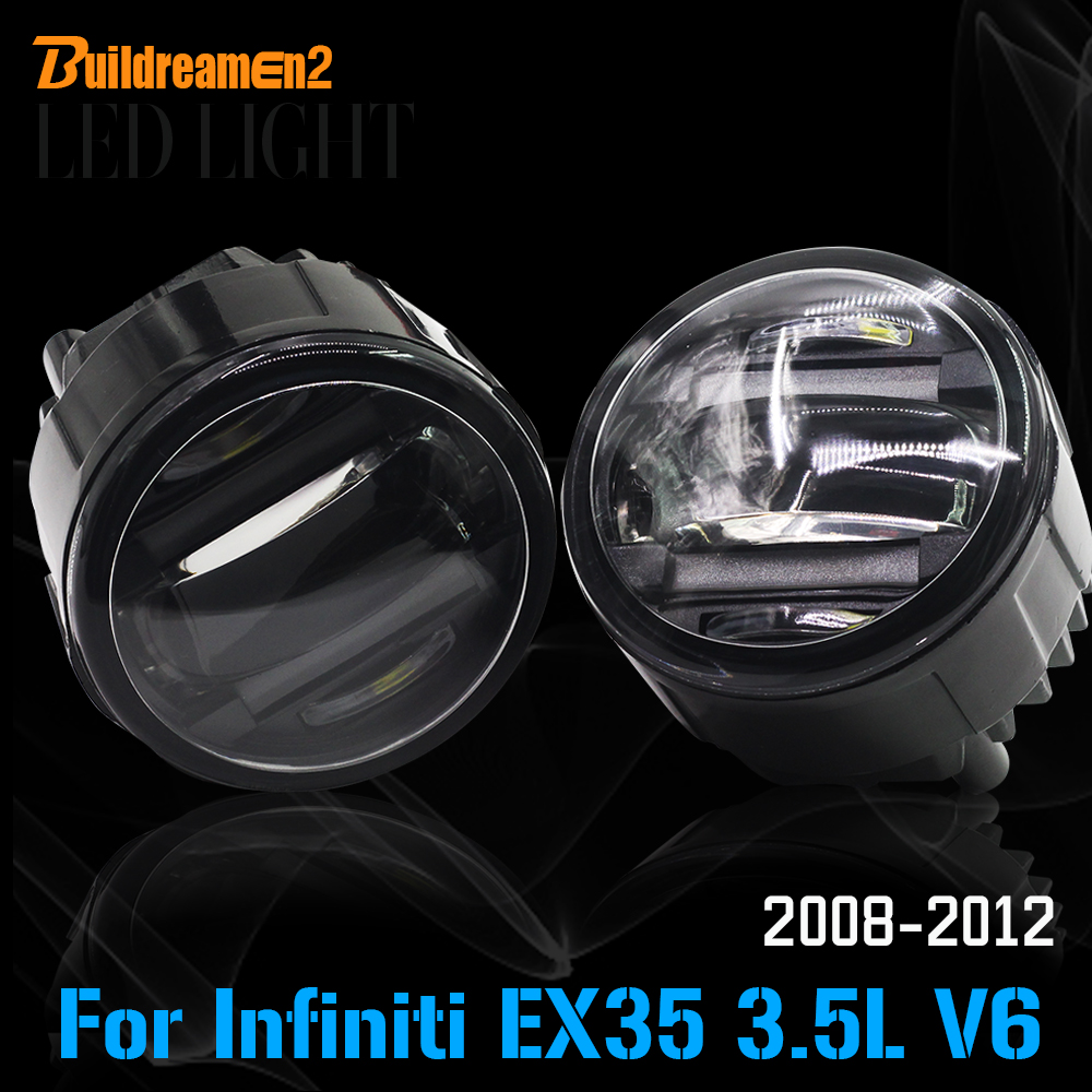 Buildreamen2 2 Pieces Car Accessories LED Fog Light Daytime Running Lamp DRL High Lumens For Infiniti EX35 3.5L V6 2008-2012 for infiniti fx35 37 45 50 ex35 37 h11 wiring harness sockets wire connector switch 2 fog lights drl front bumper led lamp