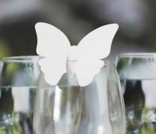 120pcs/lot Laser Cut butterfly Shape table Name holder Place Card Wine Glass Wedding Favors wd113