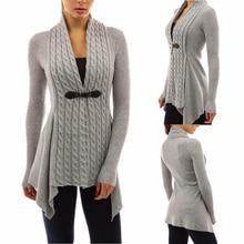 2018 new big deep v-neck flower Sweaters Cashmere knitted botton Ladies women long Irregular Cardigans Sweater coat