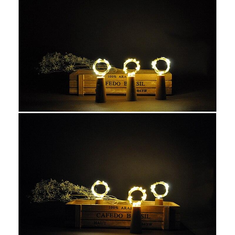 9Pcs Wine Bottle Cork String Lights 2M/20 LEDs Copper Wire For Halloween Christmas Party DIY Decor AI88