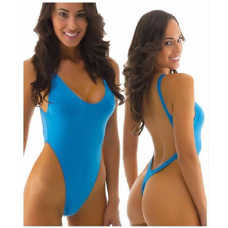 2016 Hot Selling Sexy Solid thong one piece swimsuit Women Swimwear bodysuit high out Bathing suit Backless Monokini Beachwear high neck one piece swimsuit women high cut thong swimwear sexy bandage trikini hollow out mesh bodysuit female zipper monokini