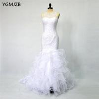 Luxury White Wedding Dress Long 2018 Mermaid Wedding Gowns Beaded Crystal Ruffles Trumpet Bridal Gown Bride