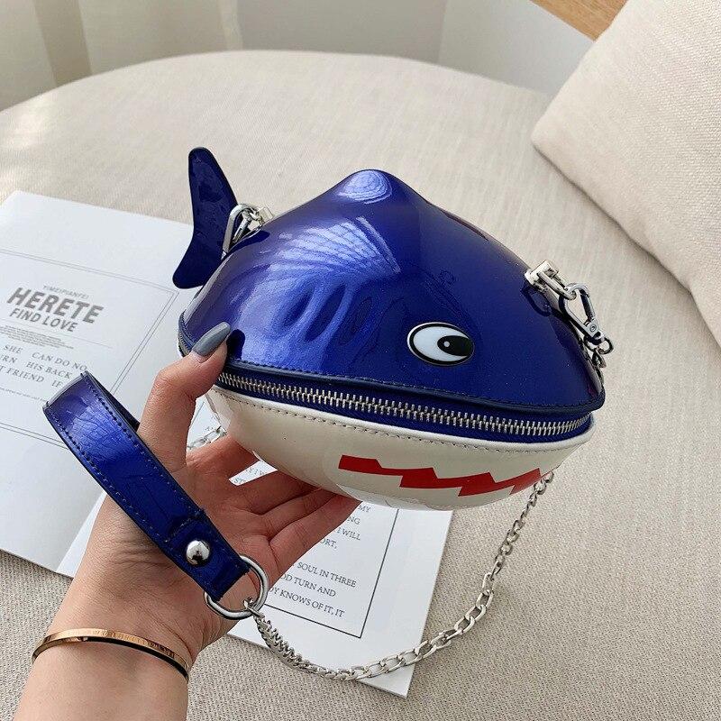 Cute Cartoon Shark Crossbody Bags For Women 2019 Quality PU Leather Luxury Handbags Designer Sac Ladies Shoulder Messenger Bag