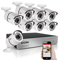 ZOSI 1080p 8-Channel Video Security System TVI DVR With 8x 1080p Outdoor Indoor Bullet Surveillance Cameras White 2.0MP