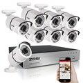 Zosi 1080 p tvi 8-channel sistema de segurança de vídeo dvr com 8x1080 p câmeras de vigilância ao ar livre indoor bala branco 2.0mp