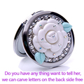 Carve letters free,rhinestone pearl camellia,wedding gift,Mini Beauty pocket mirror,stainless steel 2 side,makeup compact mirror