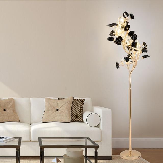 US $645.0 14% OFF European LED floor lamp simple modern living room bedroom  study creative floor lamp vertical ceramic crystal landing lamps-in Floor  ...