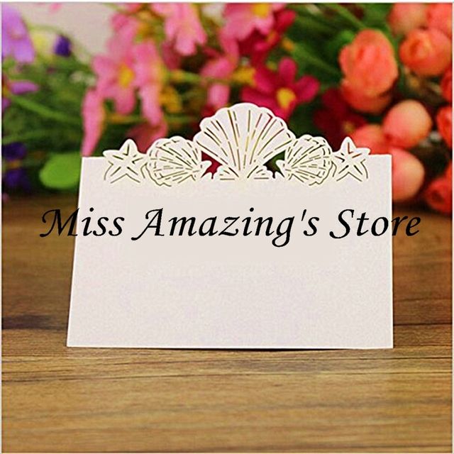 50x beach wedding bridal shower dinner table place setting name number cards party decorations favors