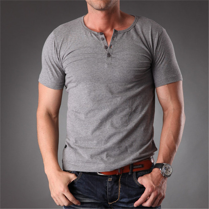 006298e531e1 RL Plain Blank T Shirt Men 2019 Grey Stretchy Muscle Body Slim Fit Short  Sleeve Top