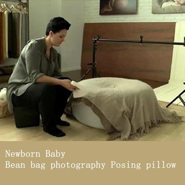 Vende Posando Bebê Recém-nascido travesseiro Infantil travesseiro cobrir sofá do saco de Feijão 36x14 polegada Profissional Posicionador poser pufe redondo foto