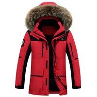 Pato branco para baixo homens jaqueta de alta qualidade homens jaqueta de inverno gola de pele quente dos homens da marca de moda para baixo casacos grossos parka 4XL