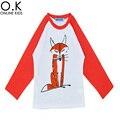 Camisa dos miúdos T de Marca Menino Manga Longa T-shirt Dos Miúdos Para Meninas meninos Roupas 2016 Outono Bonito Dos Desenhos Animados de Animais Meninos Crianças T-shirts Da Marca